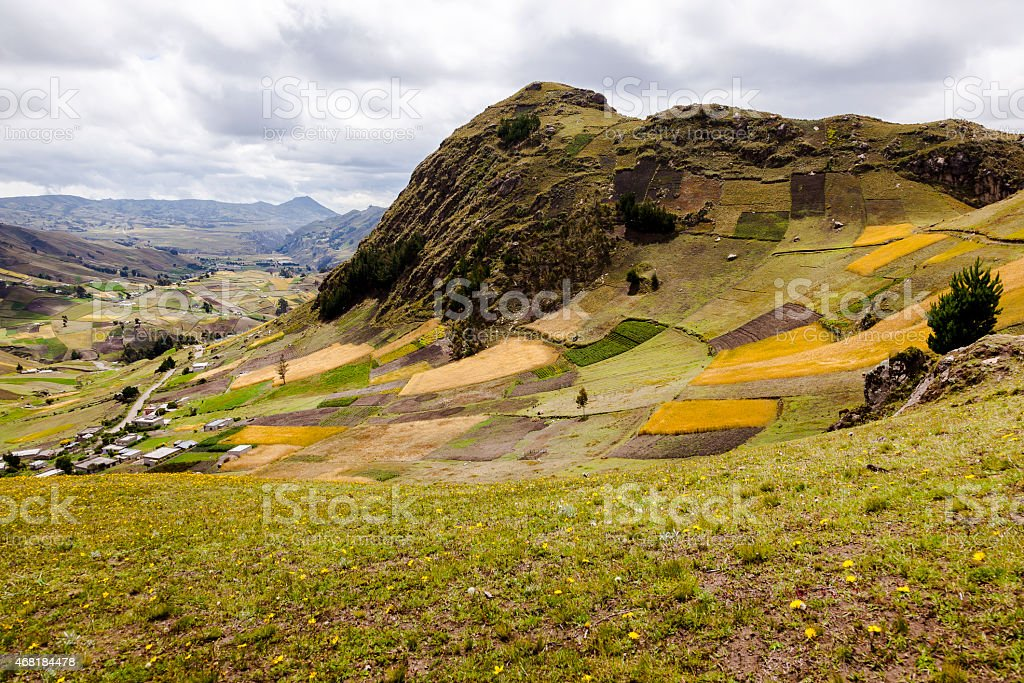 Farms and crops on slopes near Zumbahua stock photo
