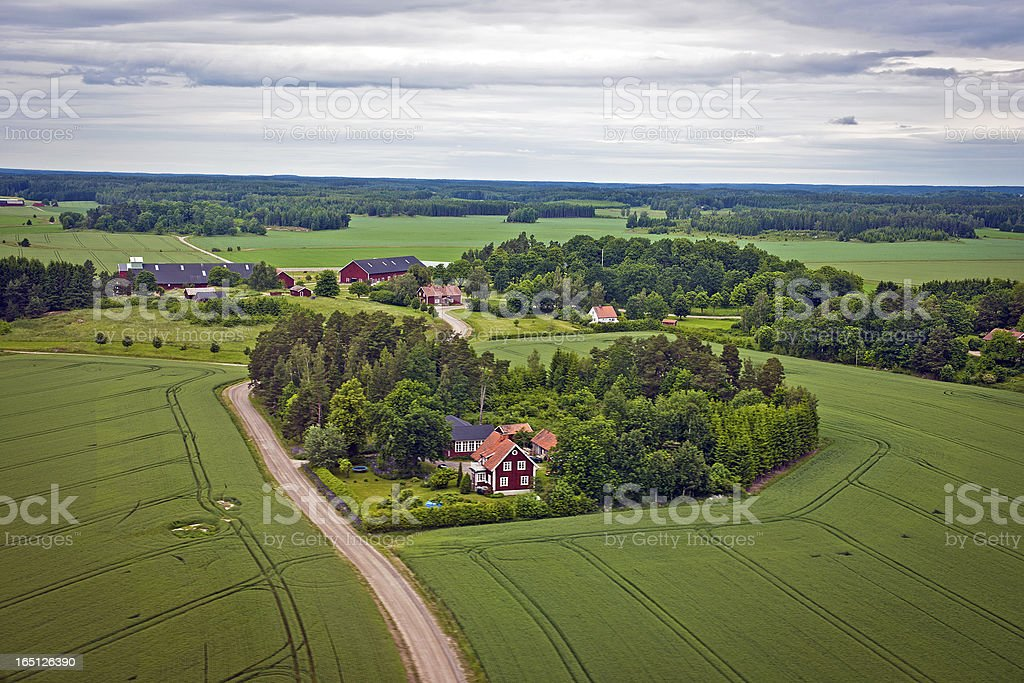 Farms and Fields in Sweden North Europe royalty-free stock photo