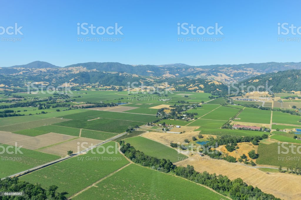 Farms and vineyards in Napa Valley, California stock photo