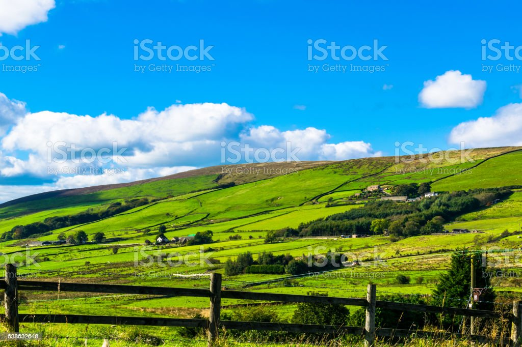 Farms on the hill stock photo