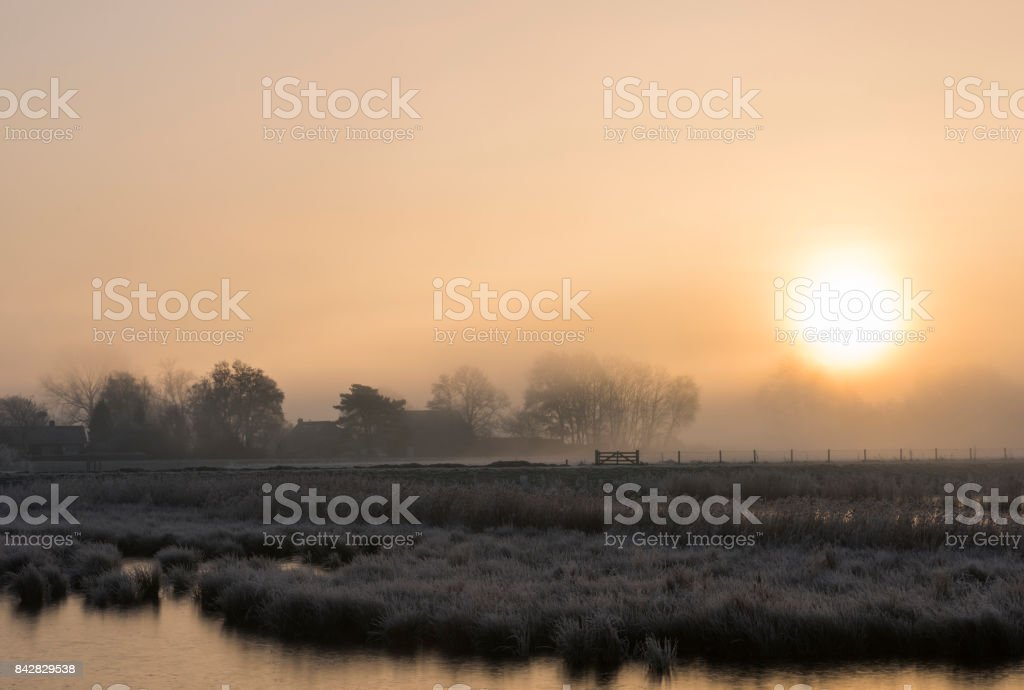 Farms on Winter Morning near Giethoorn stock photo