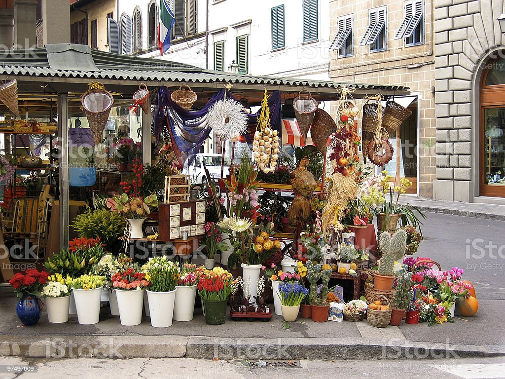 Farmstand with flowers in Florence stock photo