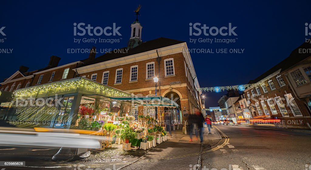 Farnham town centre at the Castle Street junction stock photo