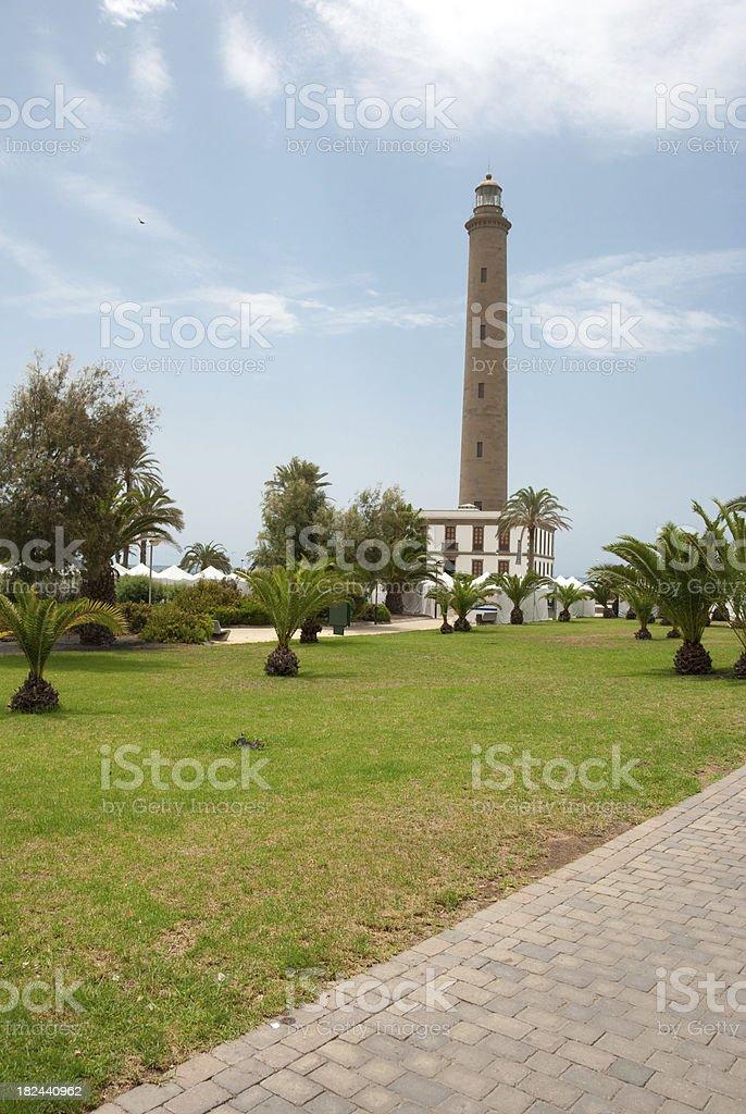 Faro de Maspalomas - lighthouse in garden (Canary Islands) royalty-free stock photo
