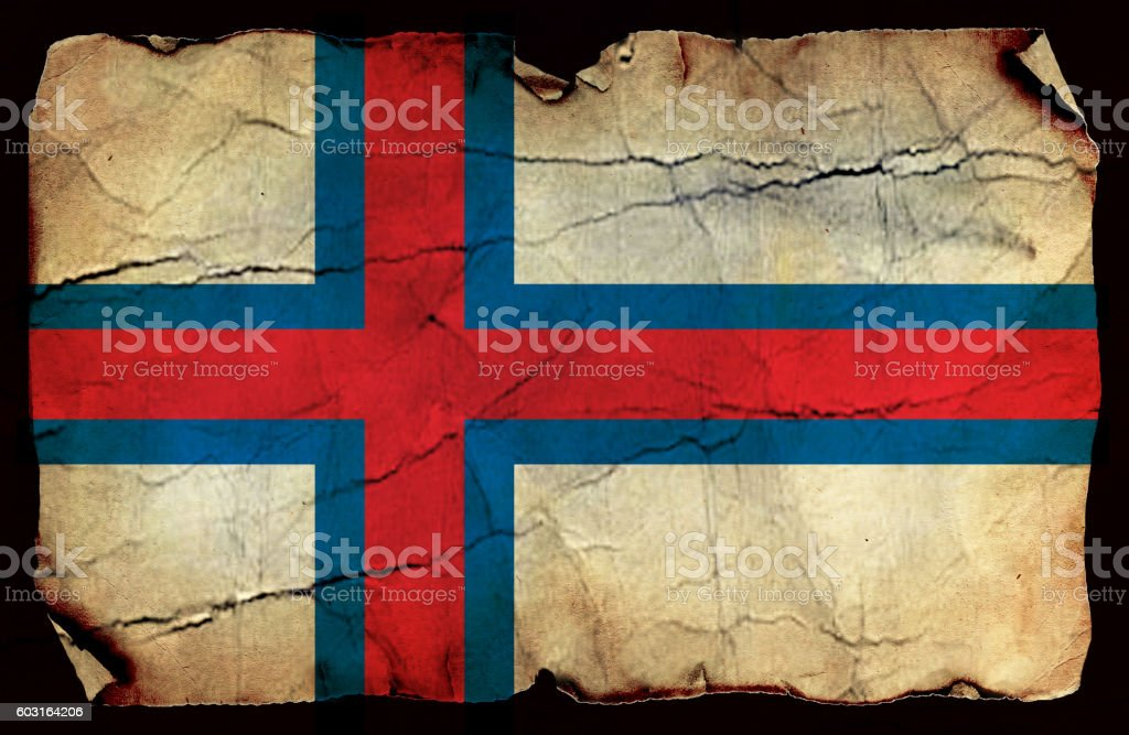 Faroe Islands grunge flag stock photo