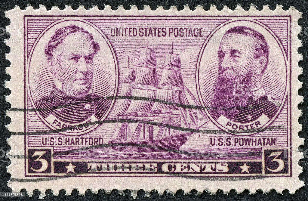 Farragut And Porter Stamp stock photo