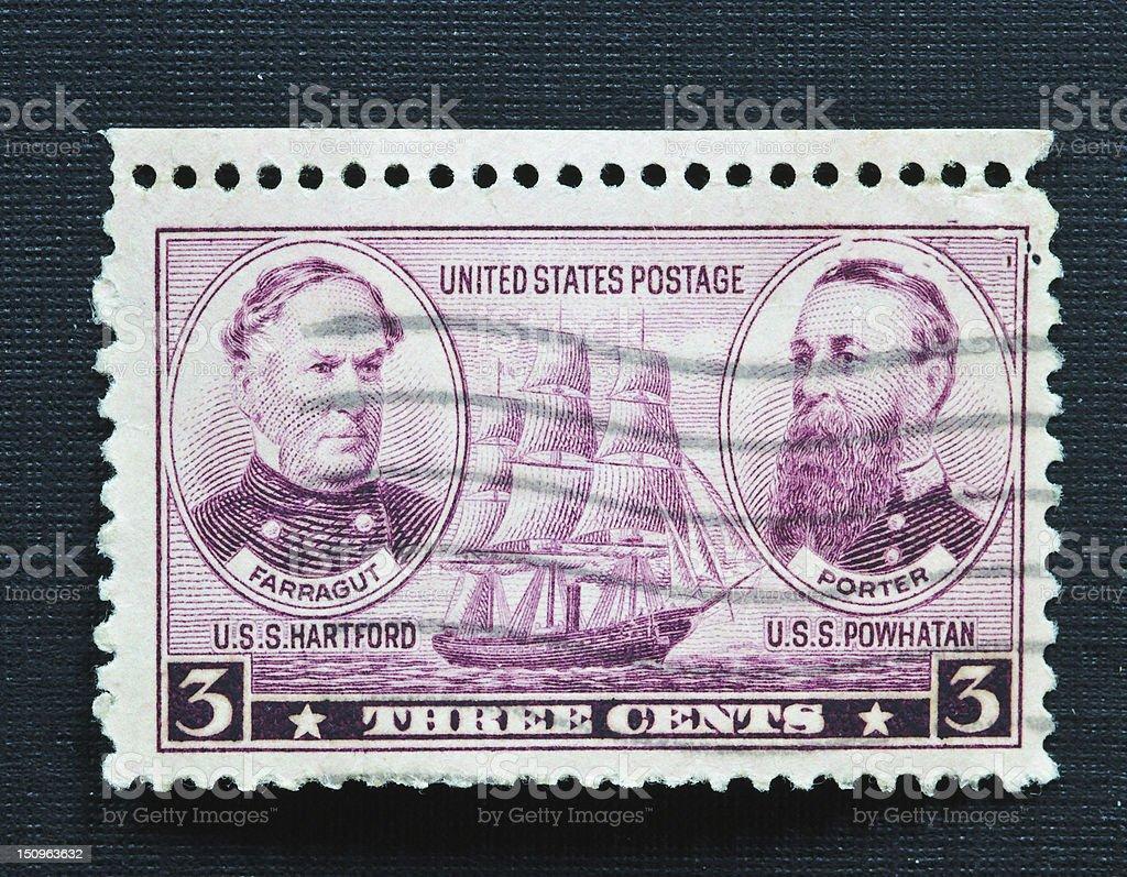 Farragut Porter 3 cent stamp stock photo