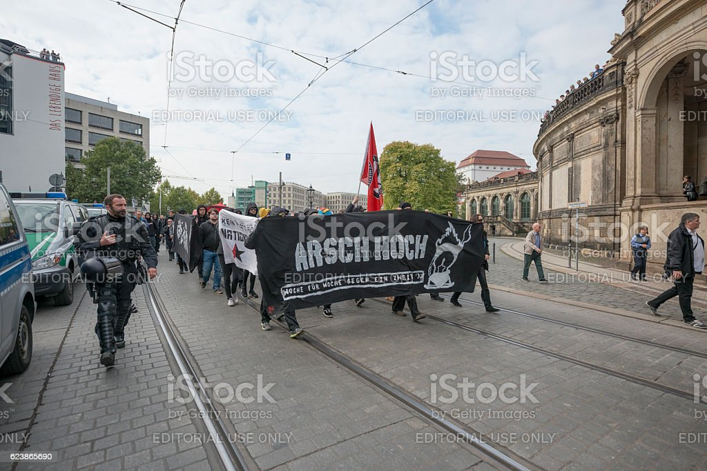 Far-right members of 'Pegida' take part at demonstration, Dresden, Germany. stock photo