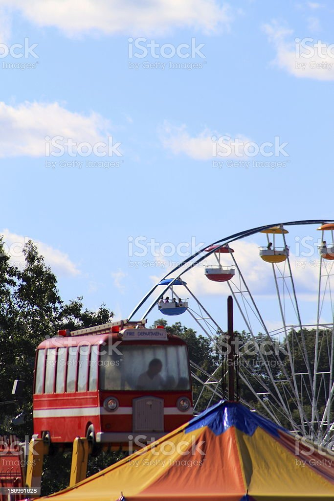 Farris Wheel Air Bus Ride and Circus Tent Top royalty-free stock photo