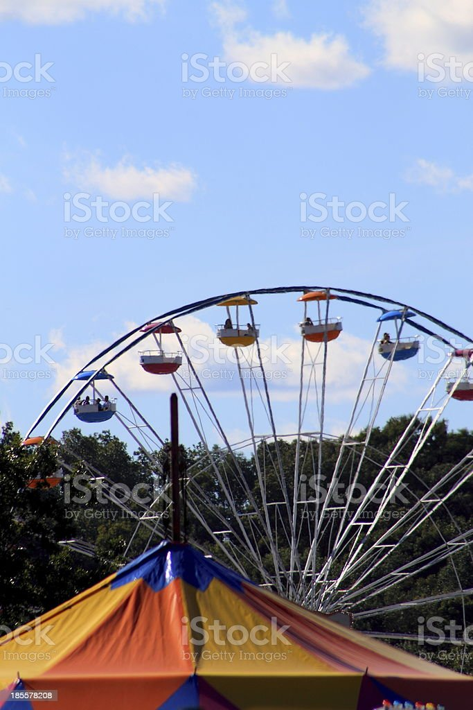 Farris Wheel and Circus Tent Top royalty-free stock photo