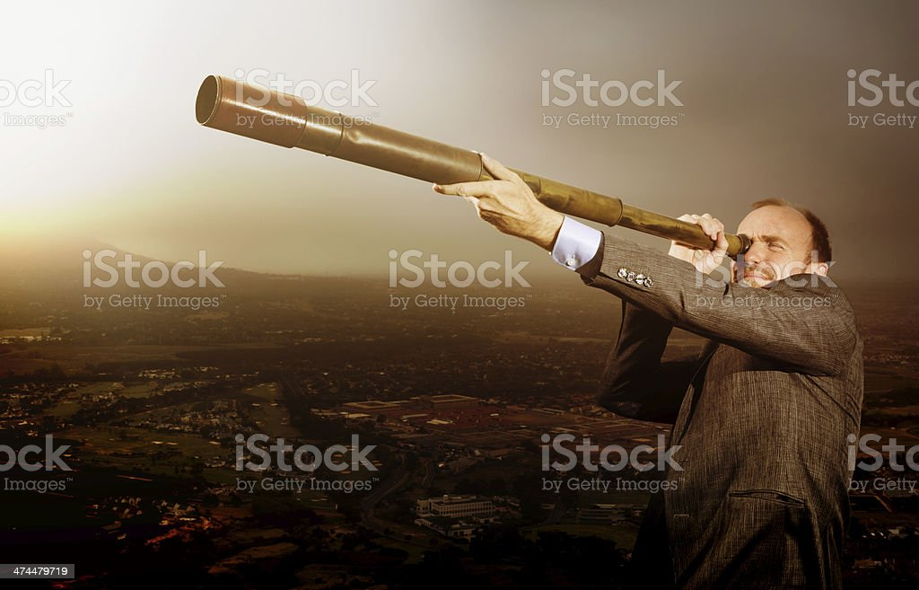Far-sighted businessman looks to the future royalty-free stock photo