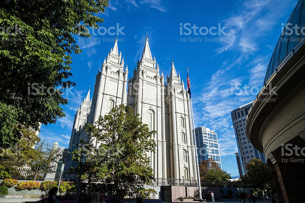 Fascade of Salt Lake Temple in Utah stock photo