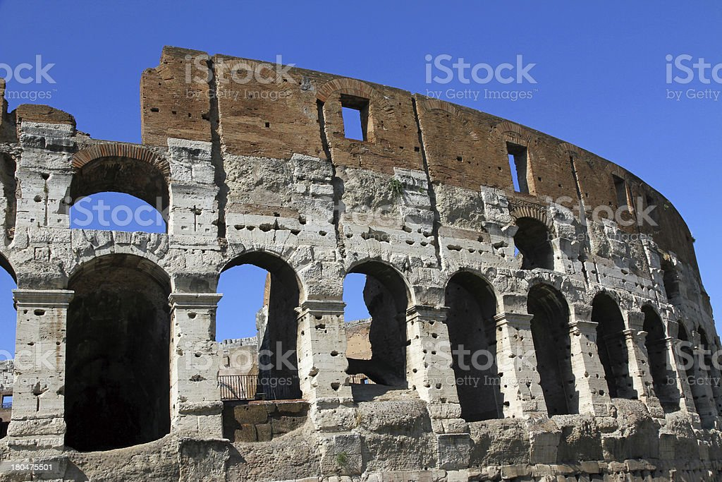 fascinating and spectacular facade of the Colosseum royalty-free stock photo