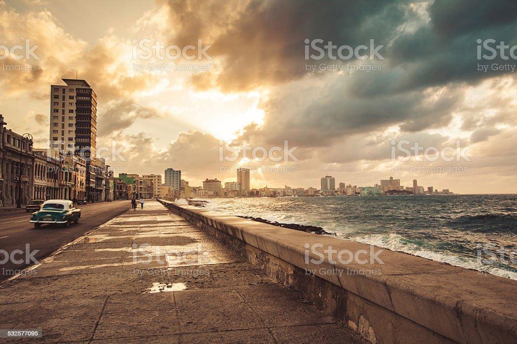 Fascinating evening cloudscape over the Malecon in Havana, Cuba stock photo