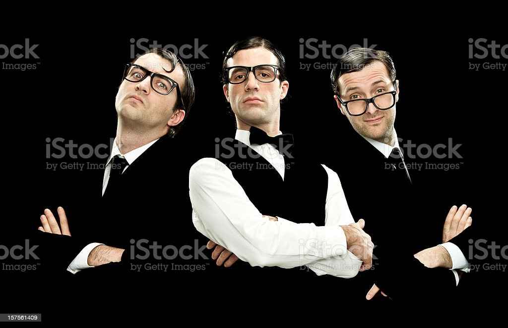 fascinating men portrait on black background stock photo