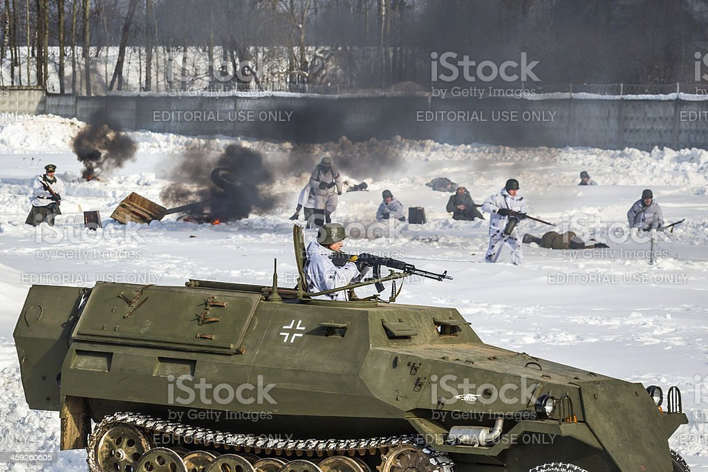 Fascist armored vehicle on battlefield. Reconstruction of battle royalty-free stock photo