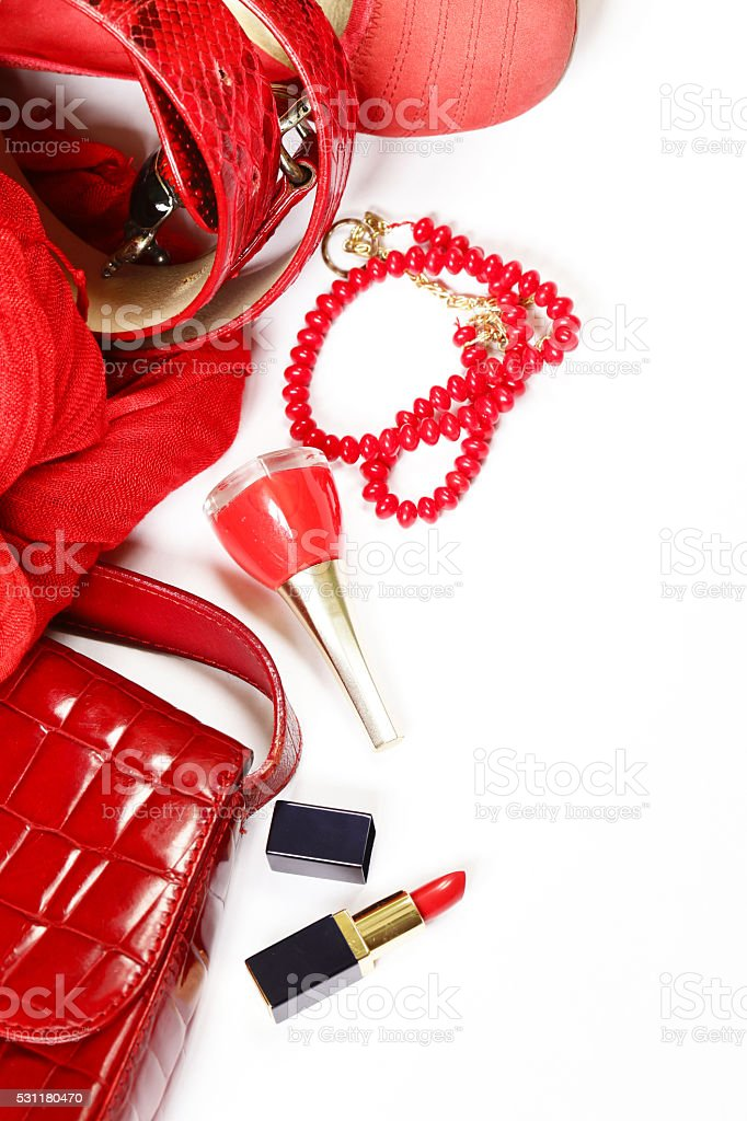 fashion accessories for women - handbag, scarf, belt and jewelry stock photo