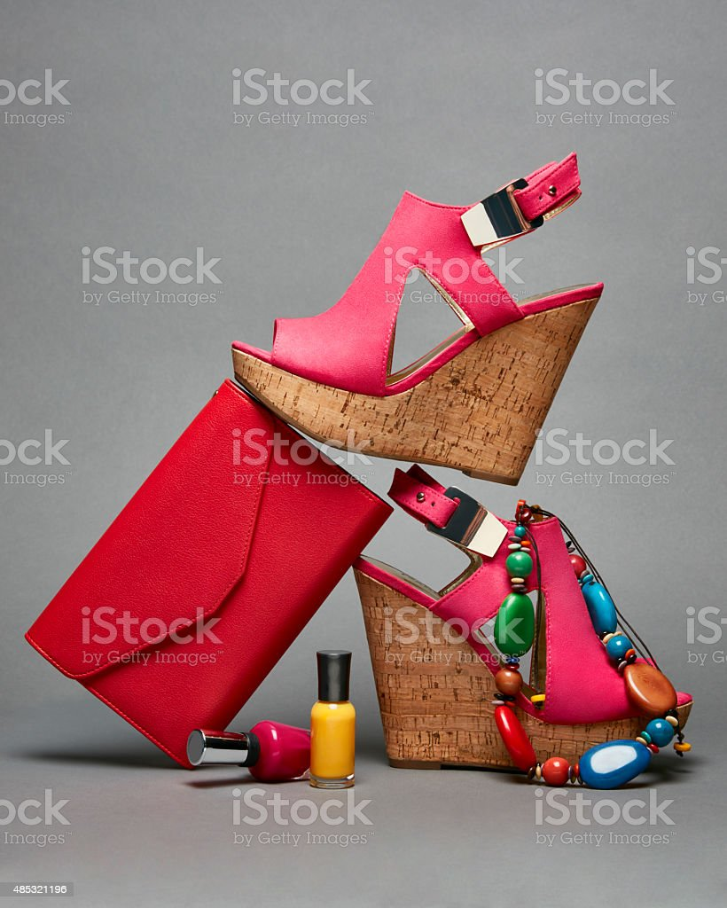 Fashion accessories still life red shoes stock photo
