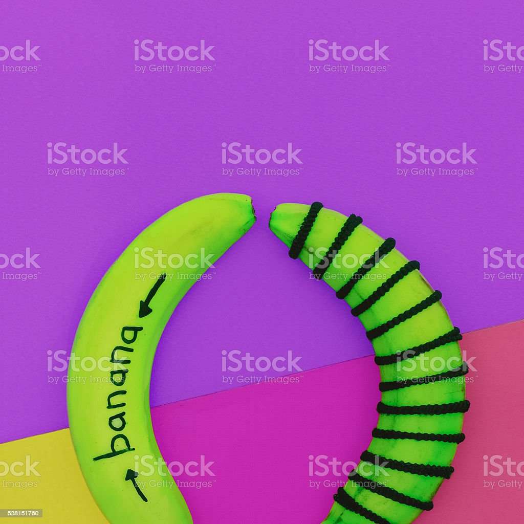 fashion acid banana bright background. Minimalism style photo stock photo