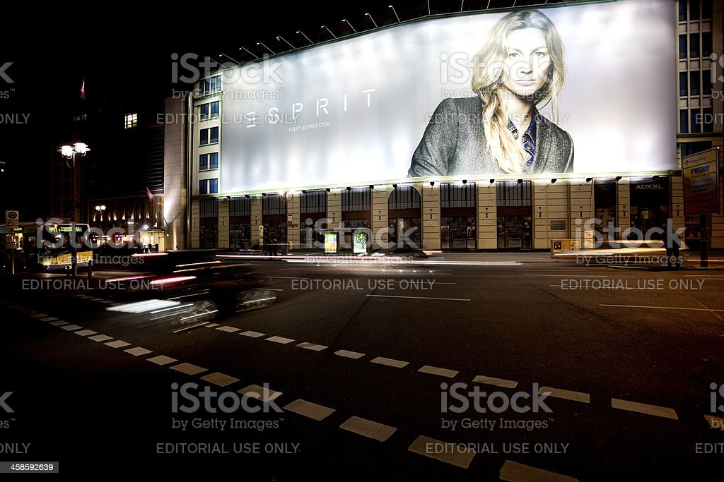Fashion Advertisment, Portrait of Gisele Bundchen at Potsdamer Platz, Berlin stock photo