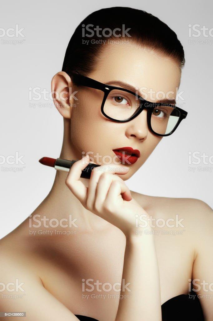 Fashion and beauty. Portrait of female stylist stock photo