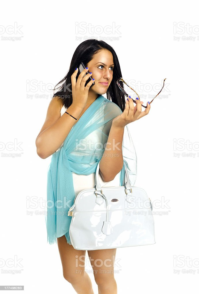 Fashion and mobile telephone stock photo