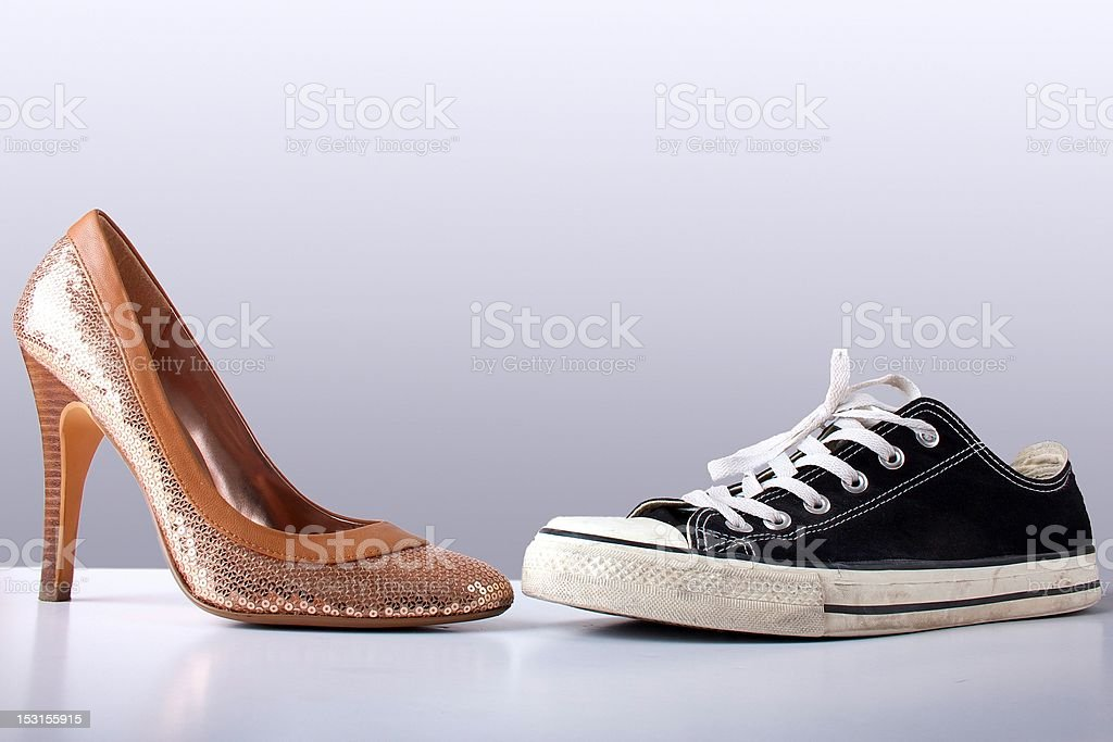 Fashion and sport shoes on abstract grey backround royalty-free stock photo