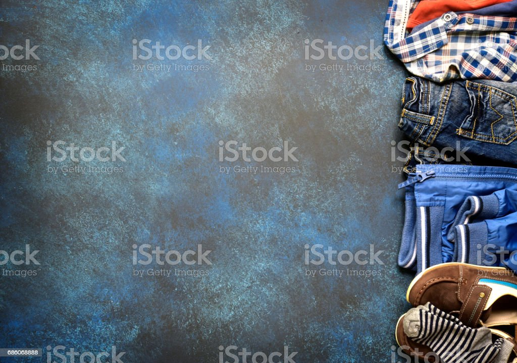 Fashion background with set of baby clothes stock photo