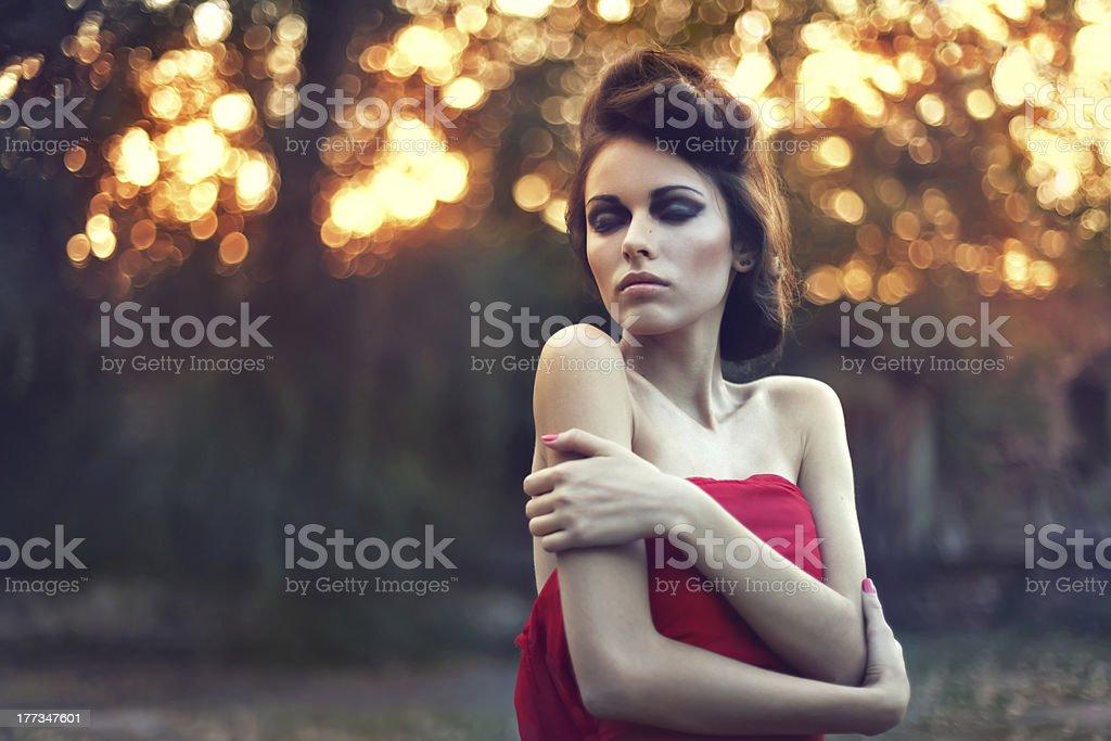 Fashion beautiful young woman outdoors portrait stock photo