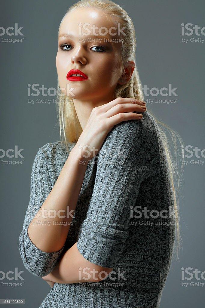 Fashion  Beautiful  young women   Wearing a gray dress stock photo
