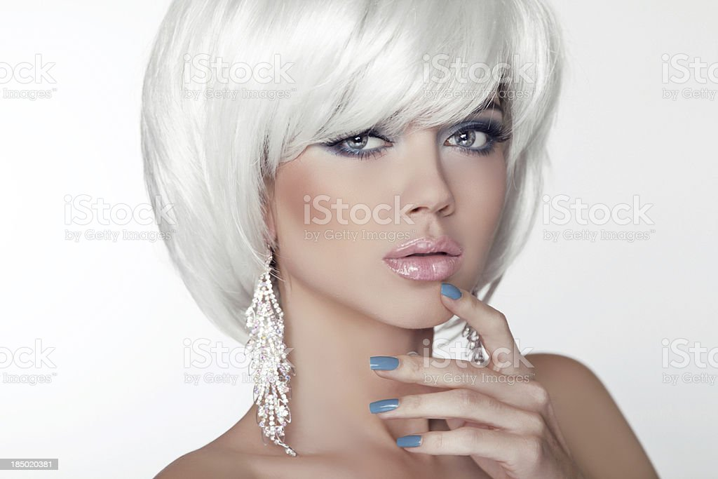 Fashion Beauty Girl Portrait with White Short Hair. Jewelry. Hai royalty-free stock photo