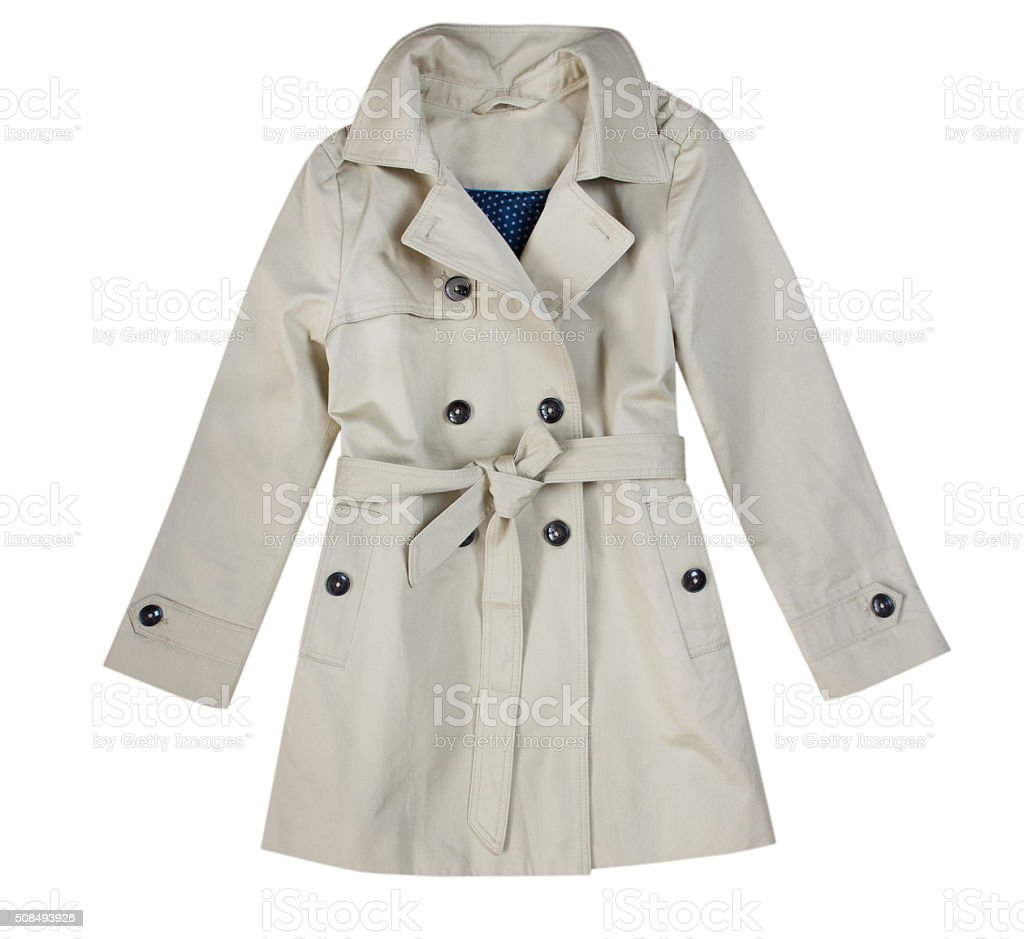 Fashion beige child girl trench coat isolated on white. stock photo