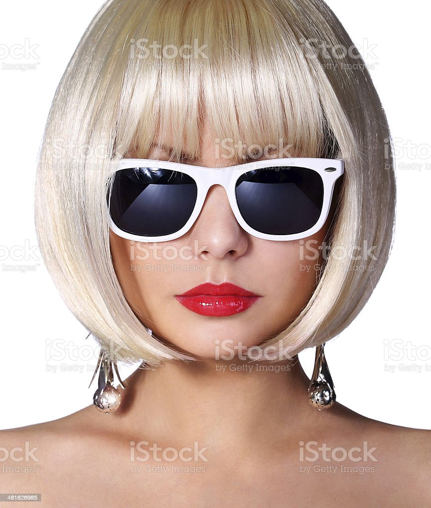 Fashion Blonde Model with Sunglasses isolated. Vogue Style Girl. stock photo