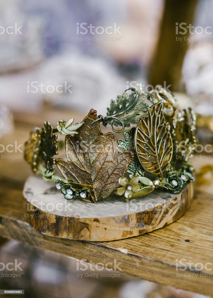 Fashion bridal. Gold jewellery floral decoration for hair. stock photo