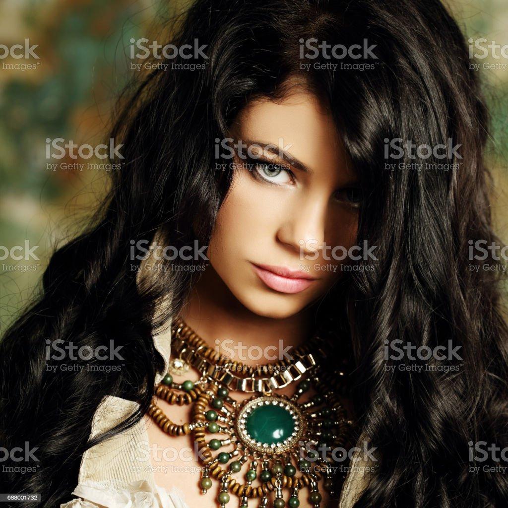 Fashion brunette woman, beauty fine art portrait stock photo