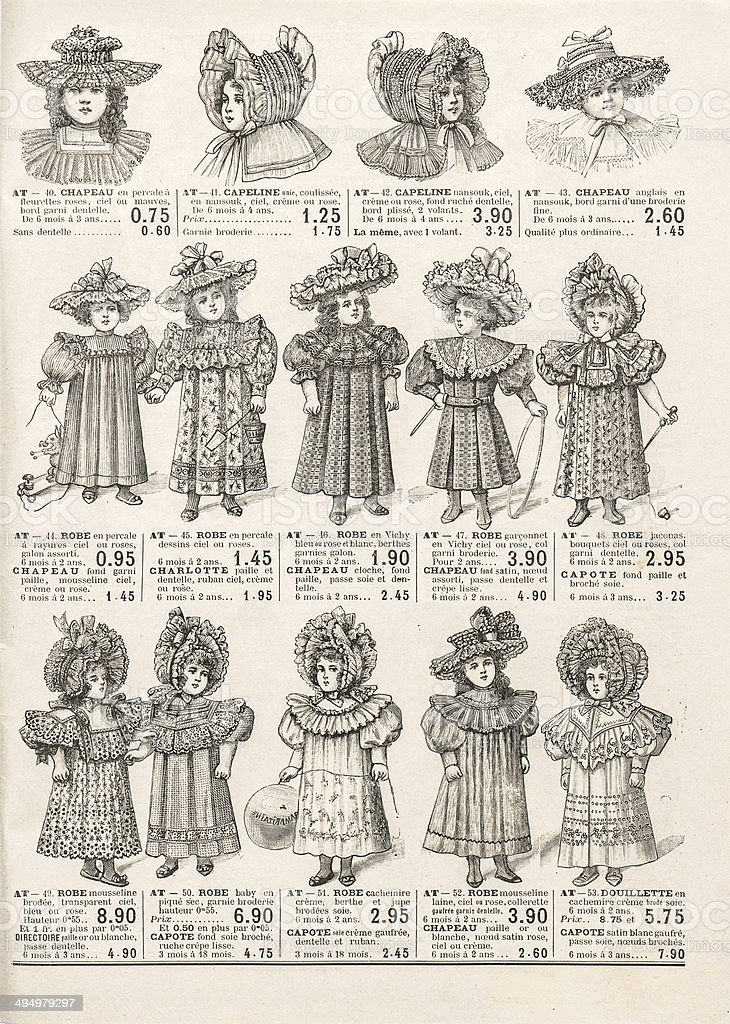 fashion clothing for girls. antique shop advertising Paris circa 1898 stock photo