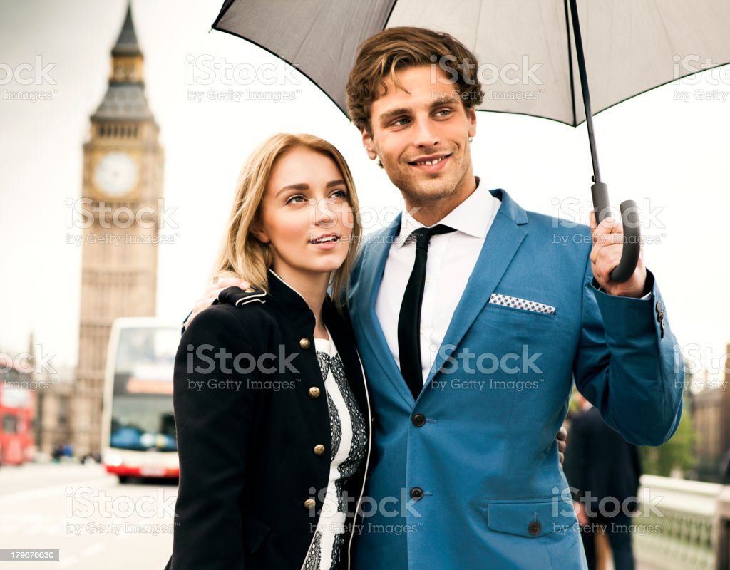 Fashion couple in London stock photo