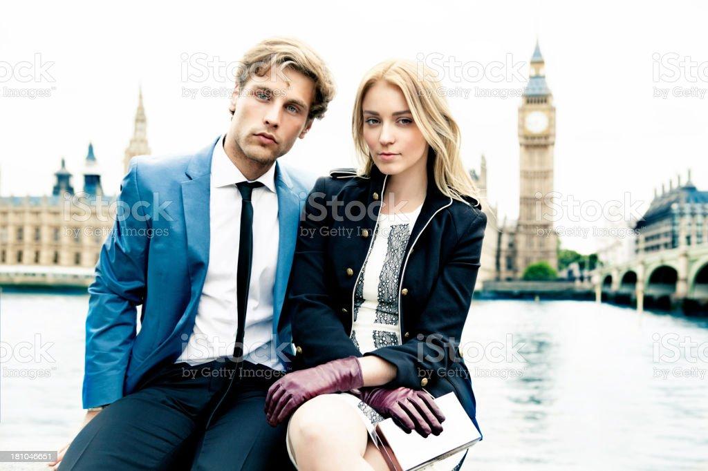 Fashion couple in London stock photo