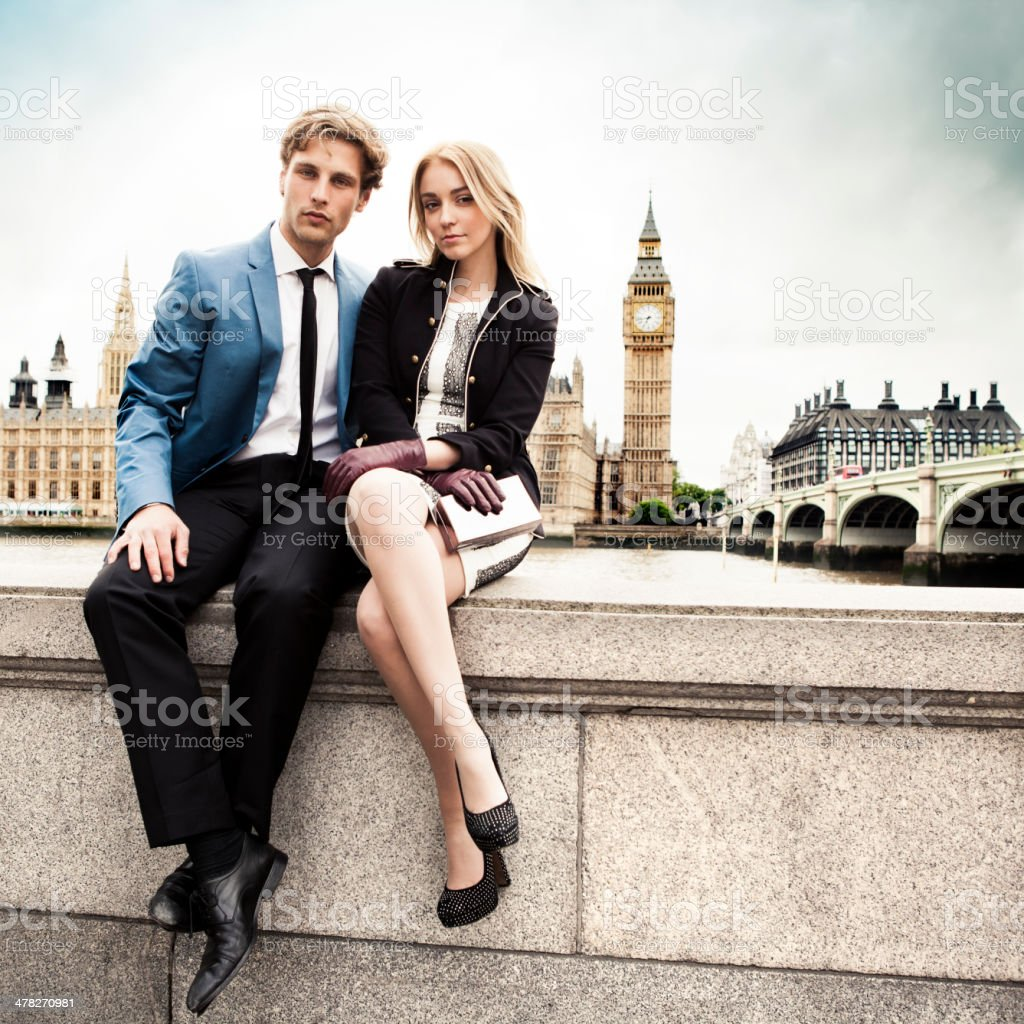 Fashion couple in London royalty-free stock photo