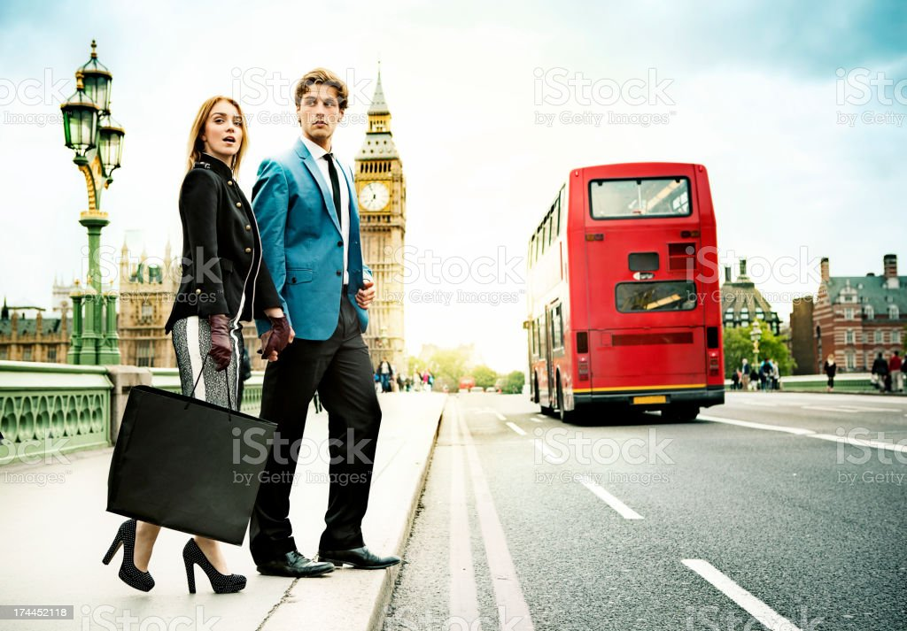 Fashion couple shopping in London stock photo