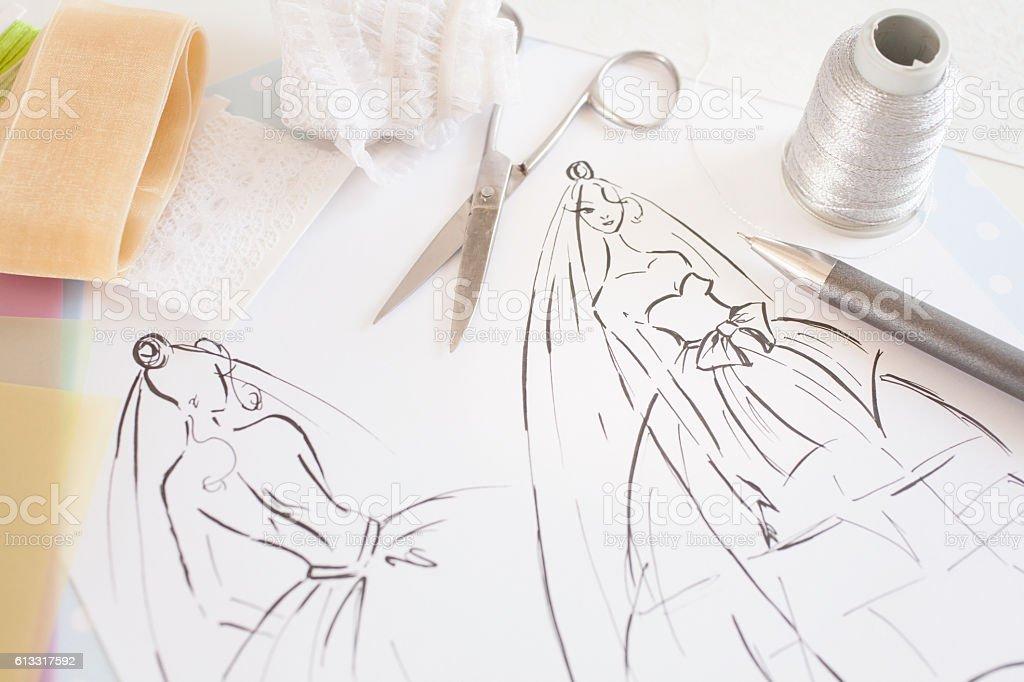 Fashion design of wedding dress stock photo