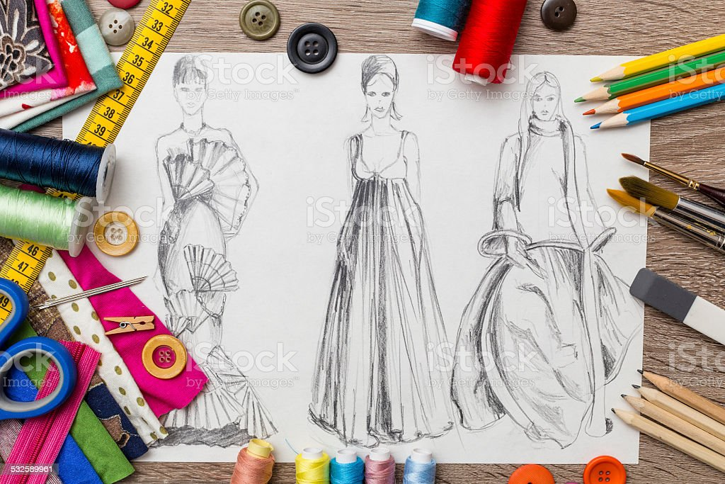 Fashion design sketch stock photo