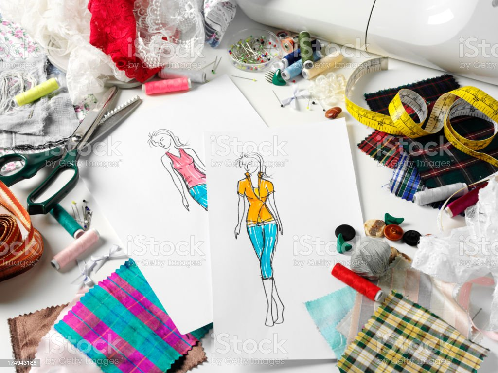 Fashion Design with Fabrics and Cotton stock photo