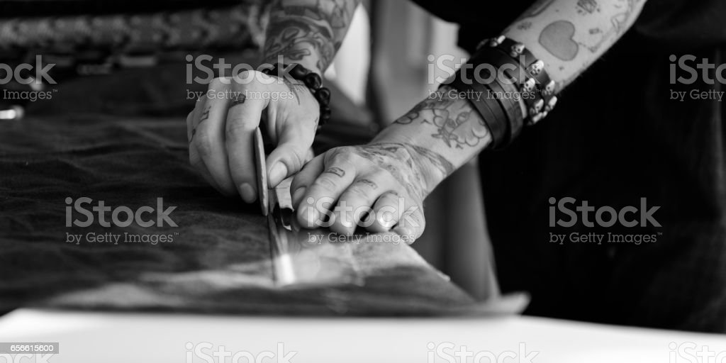Fashion Designer Cutting Tailor Made Concept stock photo