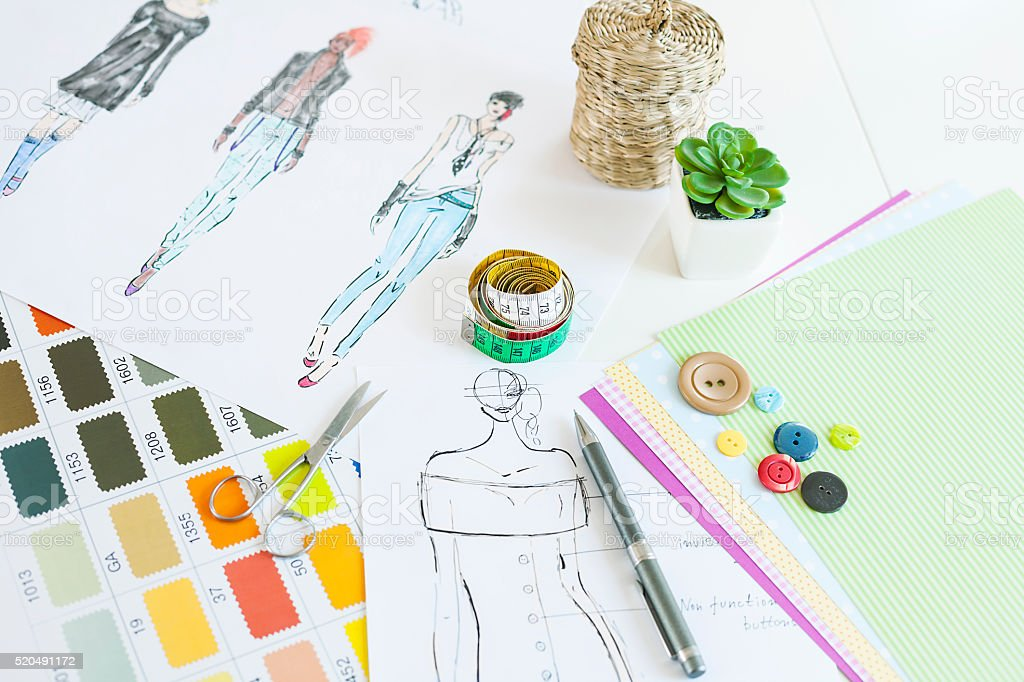 Fashion designer desk stock photo