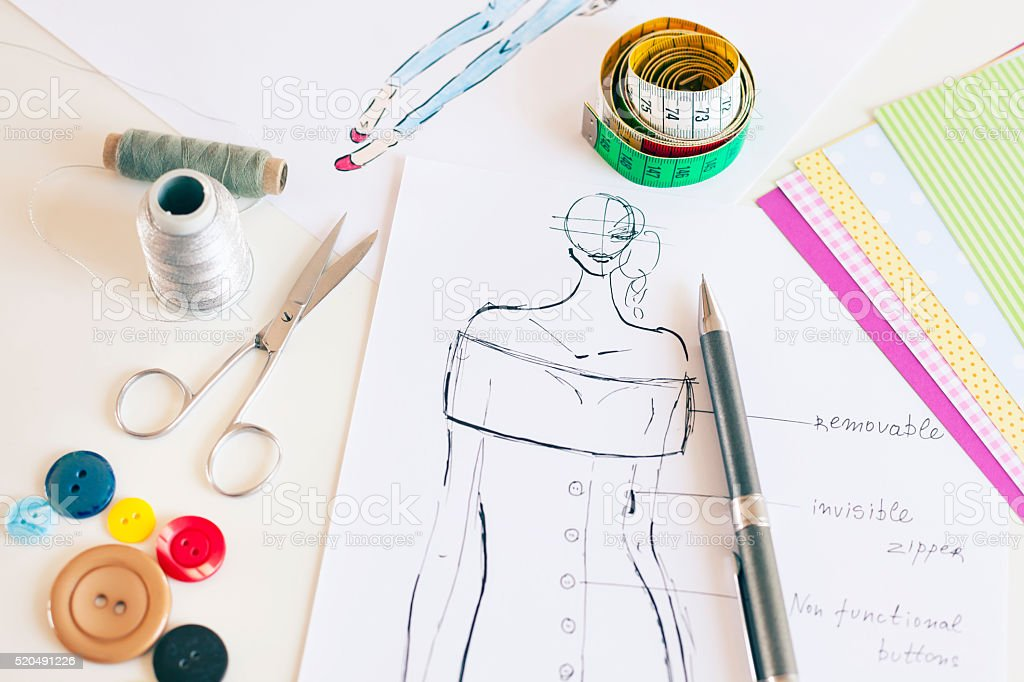 Fashion designer drawings stock photo