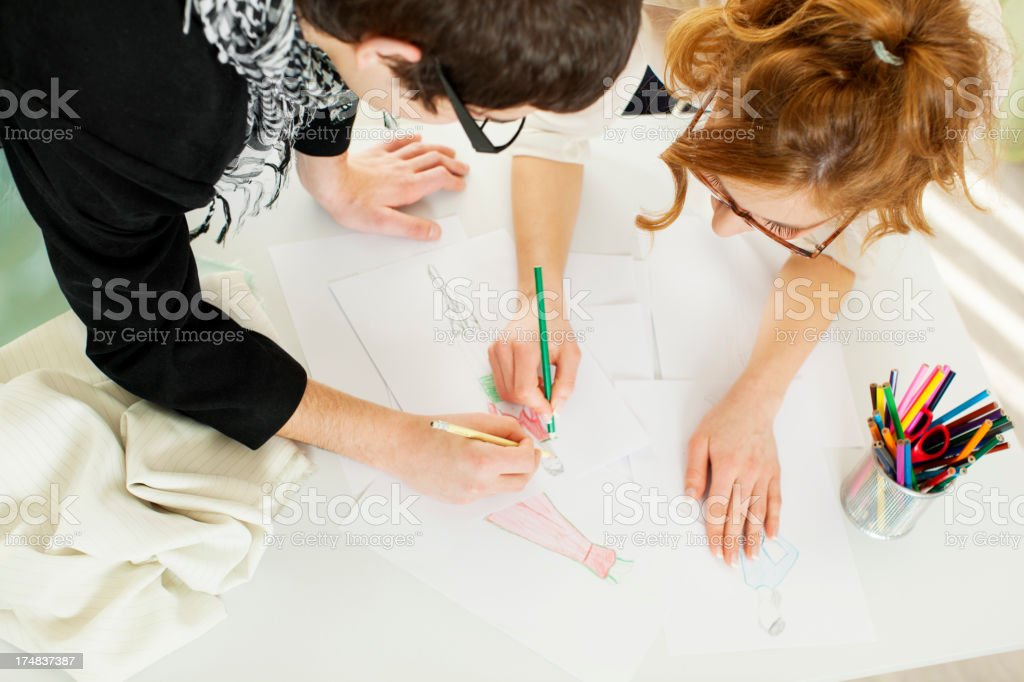 Fashion Designer Team Sketching. royalty-free stock photo