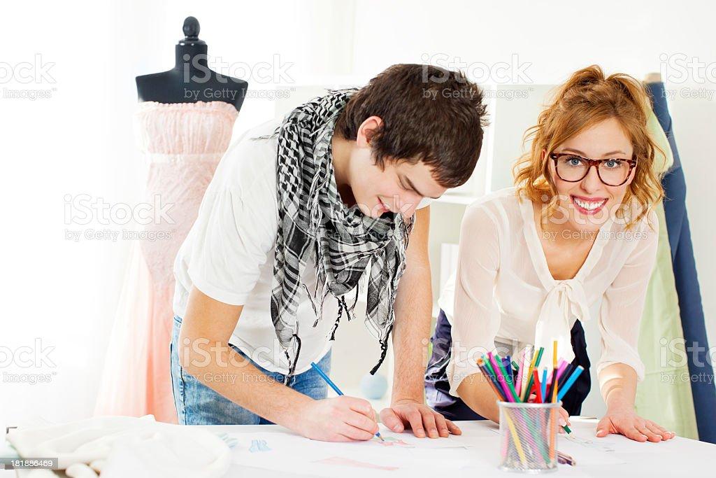 Fashion Designer Team Sketching. royalty-free stock photo