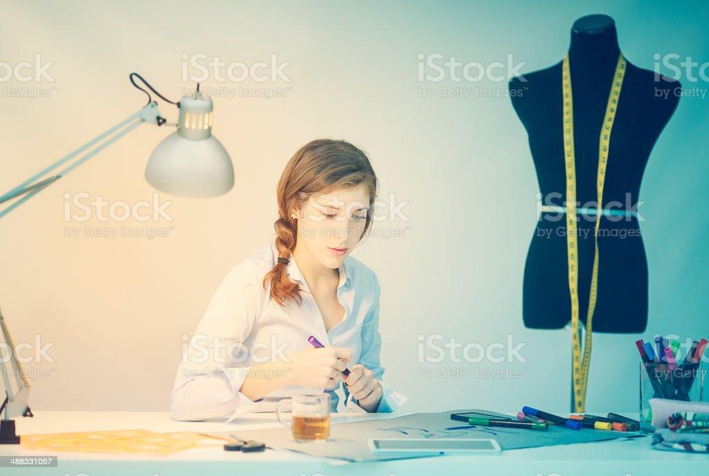 Fashion designer teen stock photo