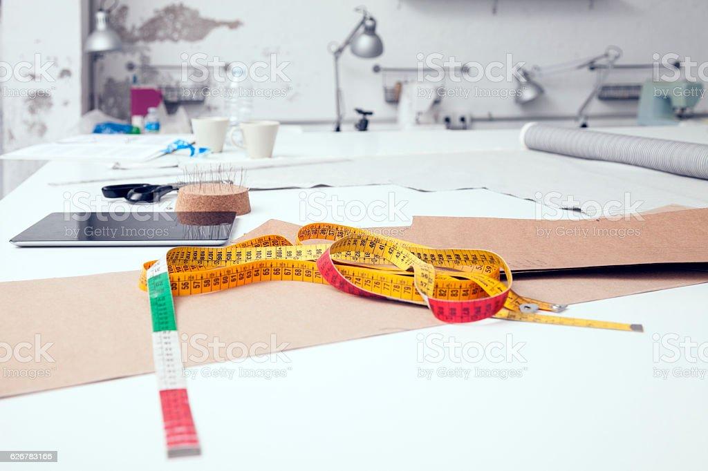 Fashion designer work table stock photo